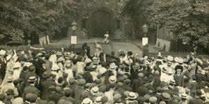 Picture of suffragette meeting Islington Local History Centre