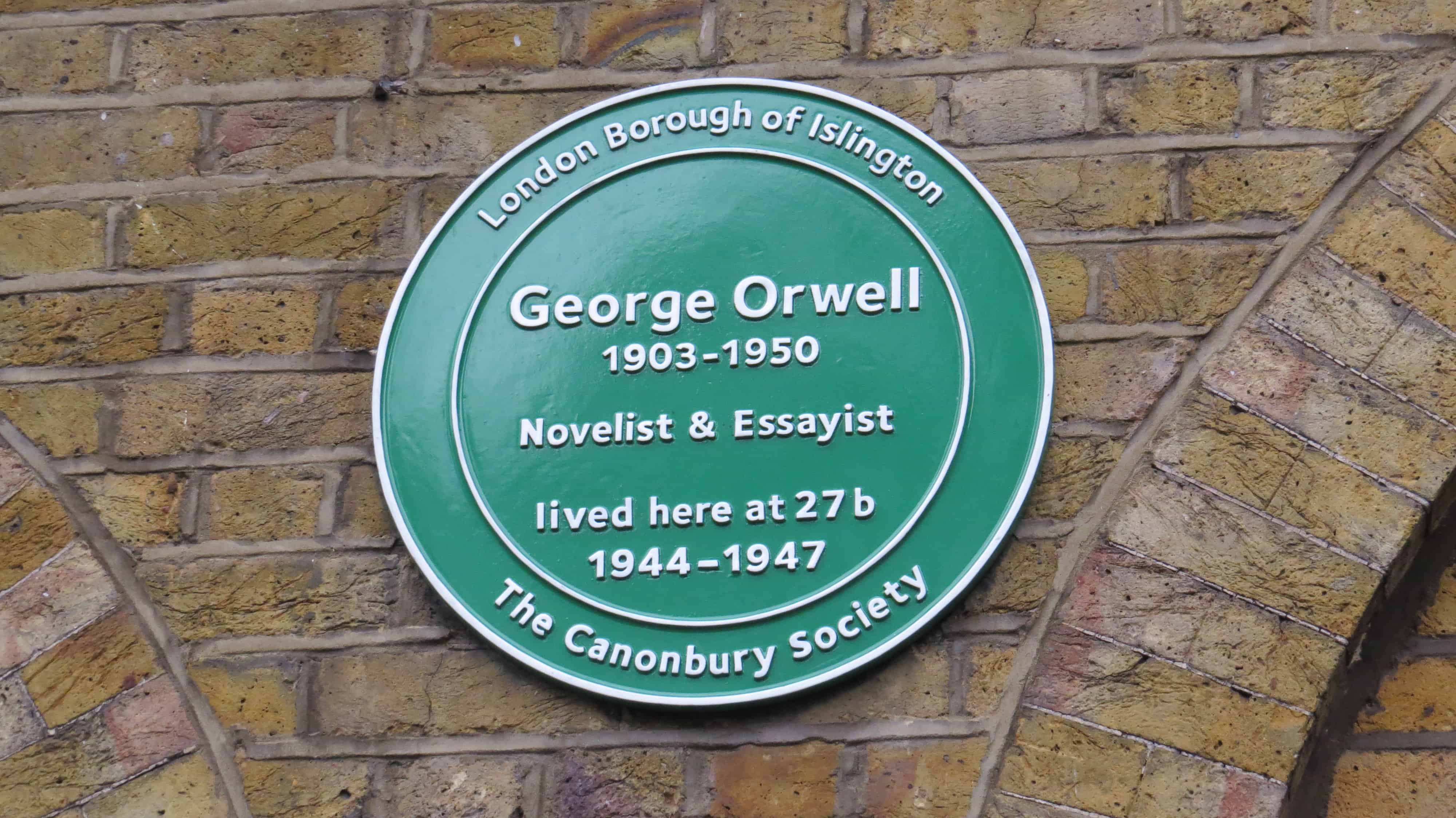 George Orwell's plaque, Canonbury Square